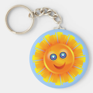 Glücklicher Sun Standard Runder Schlüsselanhänger
