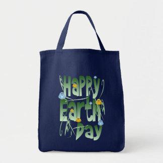 Glücklicher Tag der Erde mit Vogel-Tasche Tragetasche