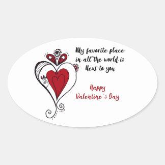 Glücklicher Valentinstag Ovaler Aufkleber
