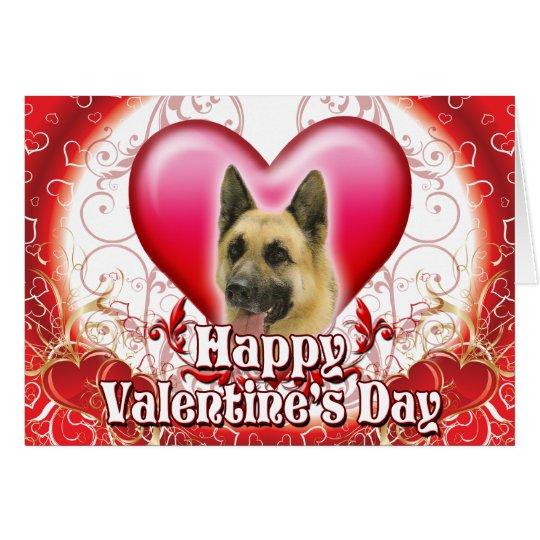 Glücklicher Valentinstag-Schäferhund Grußkarte