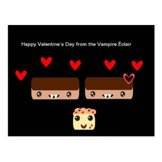 Glücklicher Valentinstag vom Vampir Éclair Postkarte