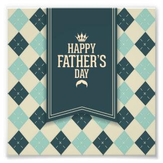 Glücklicher Vatertag, kariert, Grünbeige, trendy, Photodrucke