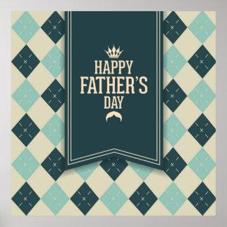 Glücklicher Vatertag, kariert, Grünbeige, trendy, Poster