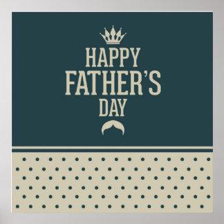 Glücklicher Vatertag, Tupfen, grüne Beige, Poster