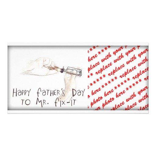 Glücklicher Vatertag zum Heimwerker! Individuelle Photo Karten