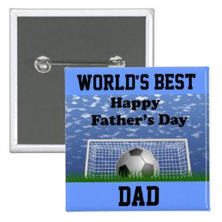 Glücklicher Vatertags-Fußball Quadratischer Button 5,1 Cm