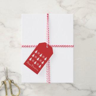 Glücklicher Weihnachtsbaum-roter Geschenk-Umbau Geschenkanhänger
