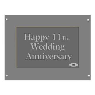 Glückliches 11. Hochzeitstag-Stahl Postkarte