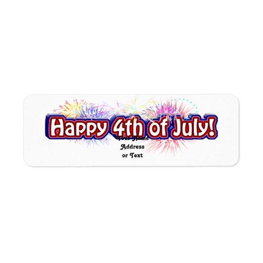 Glückliches 4. des Juli-Text-Entwurfs w/Fireworks Rücksende Aufkleber