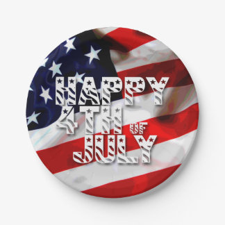 Glückliches 4. patriotischen Papptellers Julis Pappteller