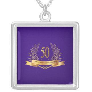 Glückliches 50. Hochzeits-Silber überzogene Versilberte Kette