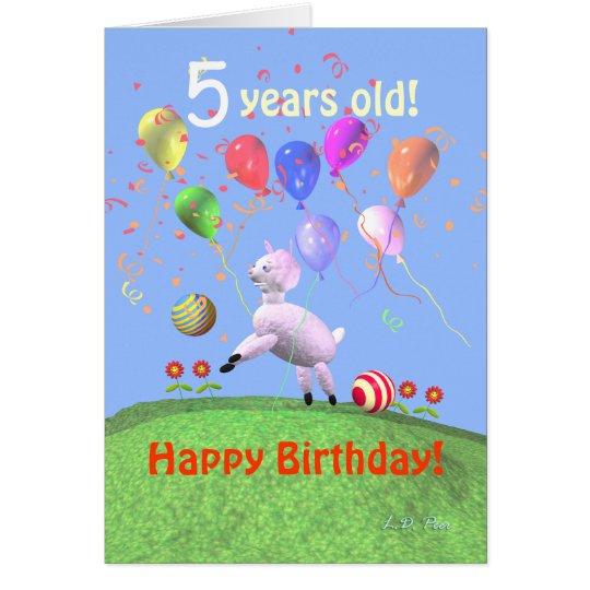 Glückliches 5. Geburtstags-Lamm und Ballone Grußkarte