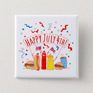 Glückliches am 4. Juli Picknick Quadratischer Button 5,1 Cm