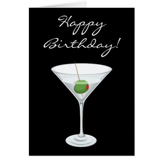 Glückliches Birhtday einfaches Martini Glas mit Karte