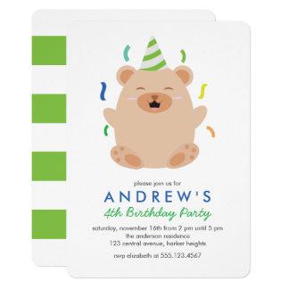 Glückliches Brown-Bärn-Kindergeburtstag-Party Karte