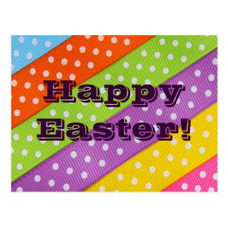 Glückliches buntes Band Ostern Postkarte
