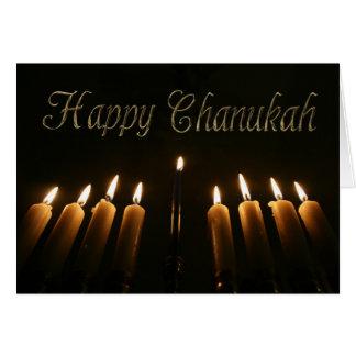 Glückliches Chanukah Chanukka Menorah beleuchtet Karte