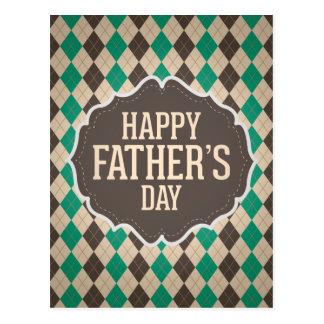 Glückliches der Vatertags-Rauten-Muster Postkarte