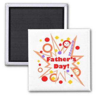 Glückliches der Vatertags-Spritzen Quadratischer Magnet