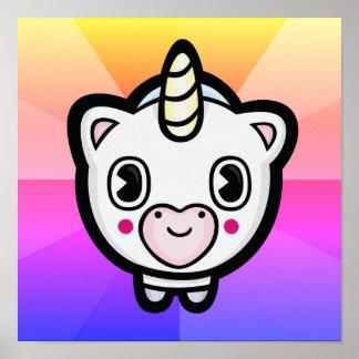 Glückliches Einhorn Emoji Farbexplosions-Plakat Poster