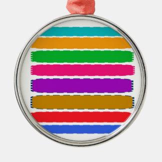 Glückliches Farbtherapie-Energiemuster Rundes Silberfarbenes Ornament