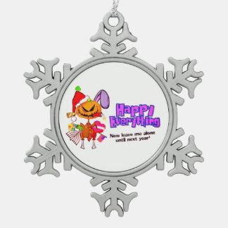 Glückliches Feiertag-Glückliches alles frohe Schneeflocken Zinn-Ornament