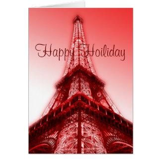 Glückliches Feiertags-Gruß-Karten-Eiffelturm-Rot Mitteilungskarte