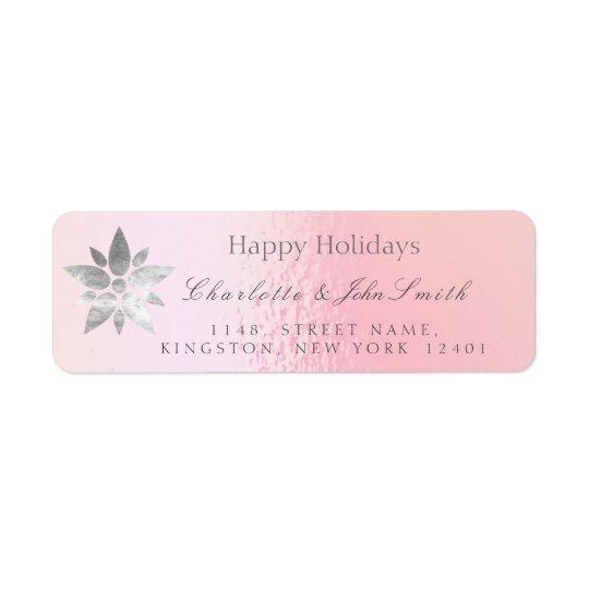 Glückliches Feiertags-neues Jahr-Rosen-Goldgraue Rückversand-Adressaufkleber