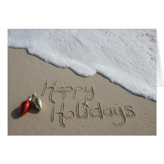 Glückliches Feiertags-Strand-Karten-Weihnachten Grußkarte
