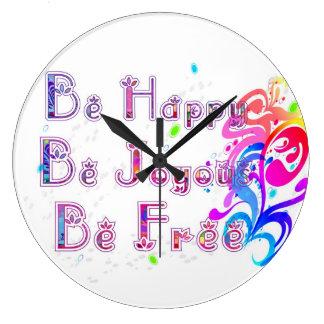 Glückliches freudiges und frei große wanduhr