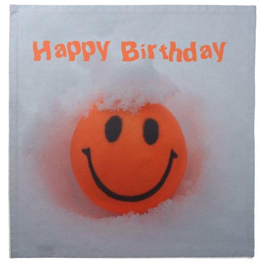 Gluckliches Geburtstag Smiley Gesicht Im Schnee Stoffserviette
