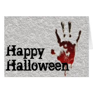 Glückliches Halloween blutiges Handprint Karte