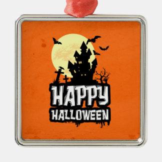 Glückliches Halloween Quadratisches Silberfarbenes Ornament