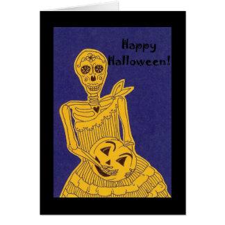Glückliches Halloween-Skelett Karte