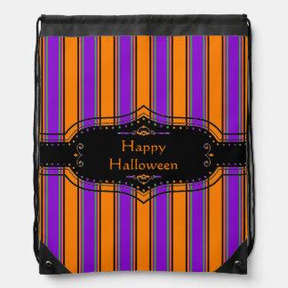 Glückliches Halloween Stripes personalisierten Turnbeutel