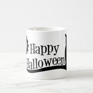 Glückliches Halloween und schwarze Katze Kaffeetasse