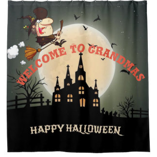 Glückliches Halloween-Willkommen zu den Duschvorhang