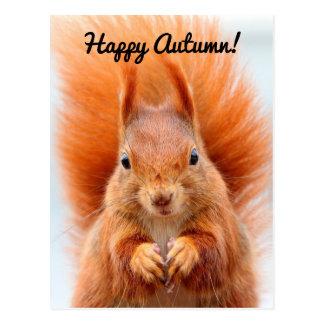 Glückliches Herbst-Eichhörnchen Postkarte
