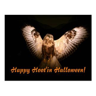 Glückliches Hoot'in Halloween Postkarte
