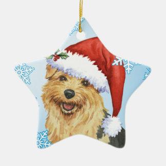 Glückliches Howlidays Norfolk Terrier Keramik Stern-Ornament