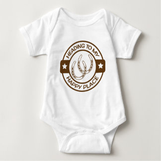 Glückliches Hufeisenbraun des Platzes A258 Baby Strampler