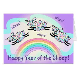 Glückliches Jahr des Schaf-bunte Schaf-springenden Karte