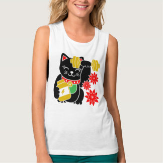 Glückliches Katze Maneki Neko Aufzugworkout-Shirt Tank Top