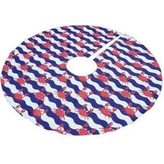 Glückliches Krabben-Muster Polyester Weihnachtsbaumdecke