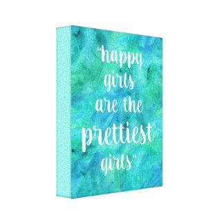 Glückliches Mädchenzitat-Aquarell im Aquablau Leinwanddruck