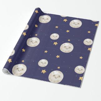 Glückliches Mond-Packpapier Geschenkpapier