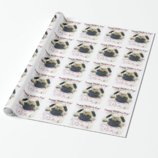 Glückliches Mops-Hundeverpackungspapier der Mutter Geschenkpapier