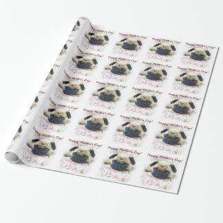 Glückliches Mops-Hundeverpackungspapier der Mutter Geschenkpapierrolle