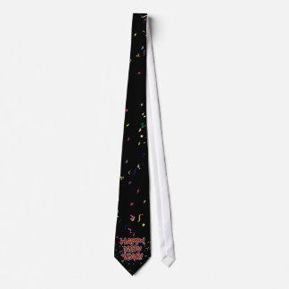 Glückliches neues Jahr-Cartoon-Text w/Confetti Individuelle Krawatte