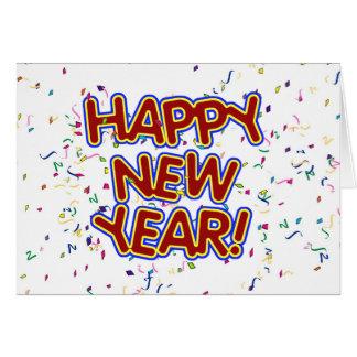 Glückliches neues Jahr-Cartoon-Text w/Confetti Karte